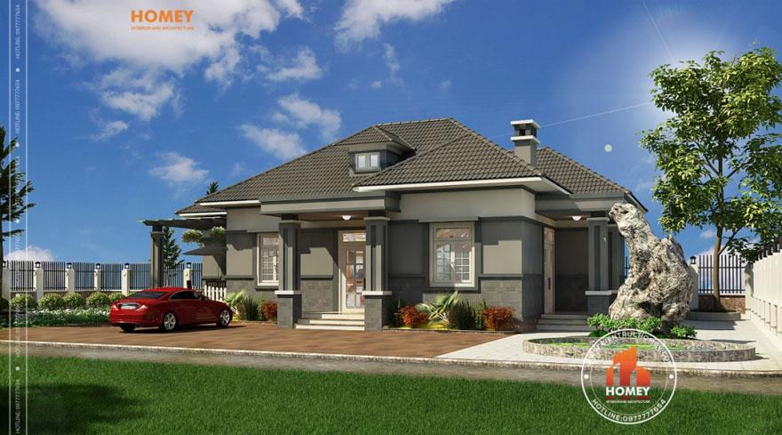 BT1T 1 Mẫu thiết kế biệt thự mini mái chéo hiện đại tại Hạ Long, Quảng Ninh