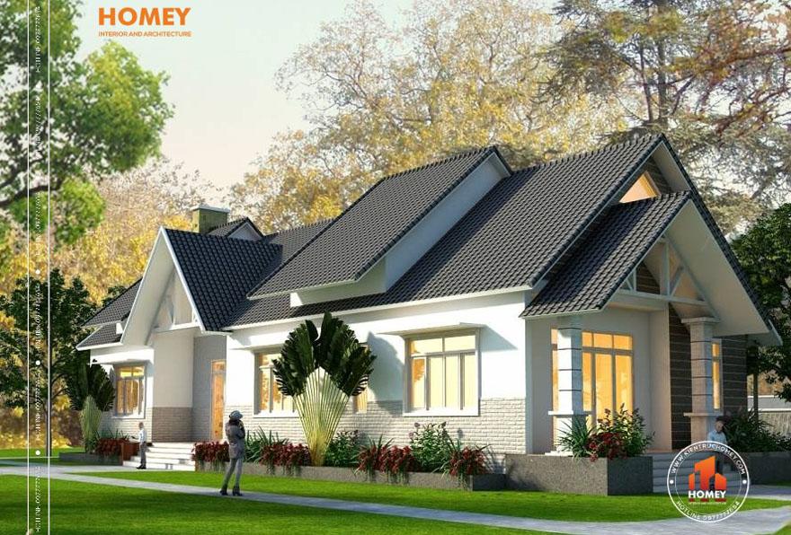 BT1T 2 1 Mẫu thiết kế biệt thự mini mái chéo hiện đại tại Hạ Long, Quảng Ninh