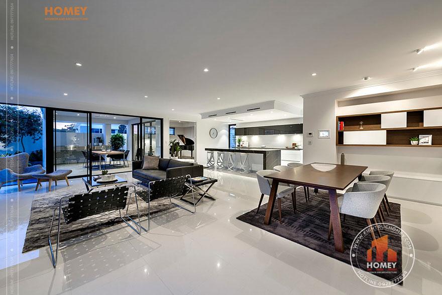 contemporary living room 1 Gợi ý giải pháp thiết kế nội thất nhà bếp đẹp và sáng tạo