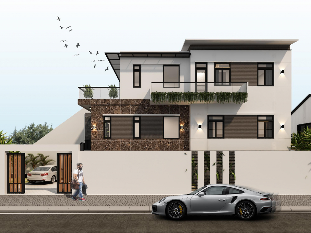 Mẫu thiết kế biệt thự mini 2 tầng 100m2 đẹp và sang