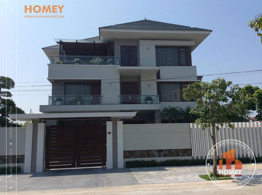 Măt tiền biệt thự 3 tầng mái Thái