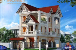 biệt thự cổ điển 3 tầng phối cảnh thiết kế