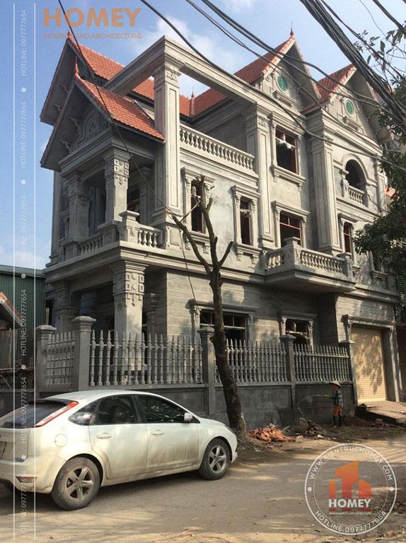 hình ảnh xây thô biệt thự cổ điển