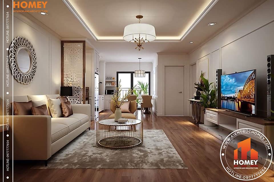 phong cách tân cổ điển Giải pháp thiết kế nội thất chung cư 70m2 cho gia đình trẻ