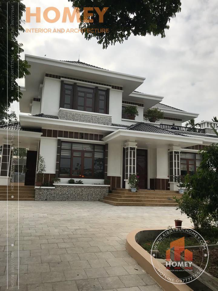 Thực tế biệt thự đẹp mái Thái 2 tầng