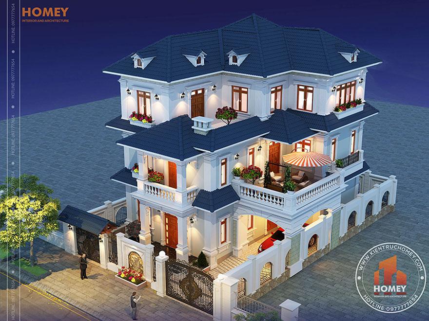 Tổng thể biệt thự 3 tầng mái Thái tân cổ điển