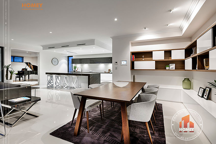 Biệt thự hiện đại 4 tầng - TP. Hồ Chí Minh - phòng bếp - bàn ăn