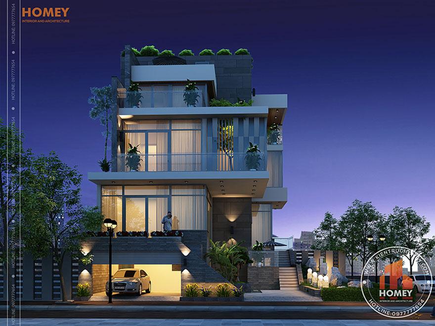 Biệt thự hiện đại 4 tầng - TP. Hồ Chí Minh - phối cảnh mặt đứng