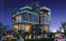 Biệt thự hiện đại 4 tầng - TP. Hồ Chí Minh - phối cảnh tổng thể