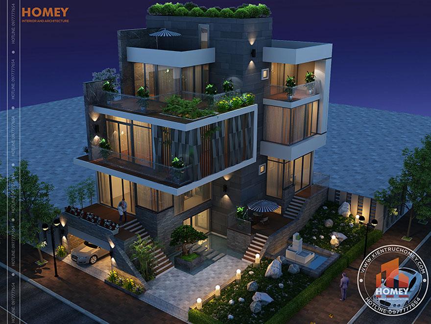 Biệt thự hiện đại 4 tầng - TP. Hồ Chí Minh - phối cảnh trên cao