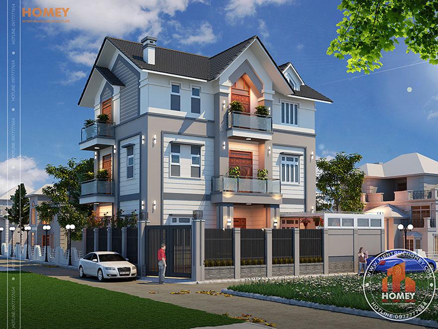 Biệt thự hiện địa mái thái 3 tầng - Bắc Giang - phối cảnh