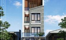 Mặt đứng nhà lô phố hiện đại 4 tầng