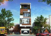 Nhà lô phố hiện đại 4 tầng Bắc Ninh - phối cảnh mặt đứng