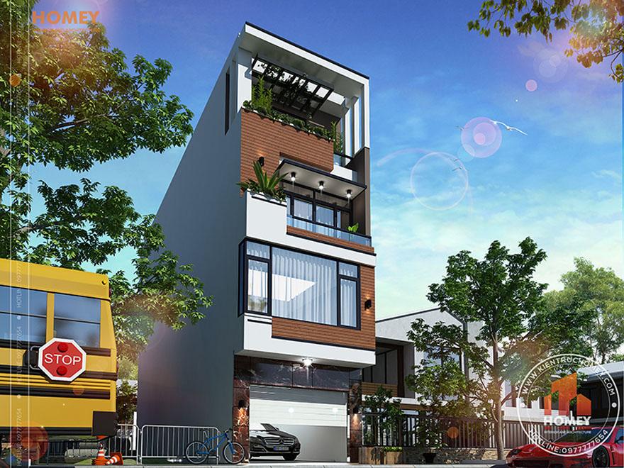 Nhà lô phố hiện đại 4 tầng Bắc Ninh - phối cảnh