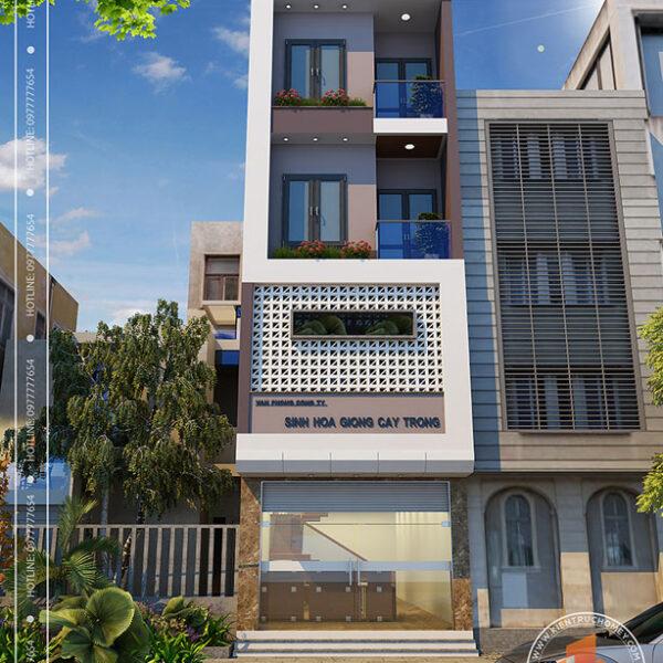 Nhà lô phố hiện đại 4 tầng Thái Bình - phối cảnh