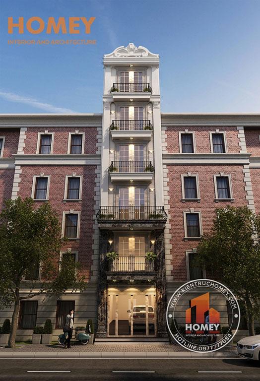 Mặt đứng nhà lô phố hiện đại 7 tầng