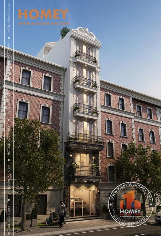 Phối cảnh góc nhà lô phố hiện đại 7 tầng