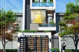 Phối cảnh nhà phố 3 tầng hiện đại