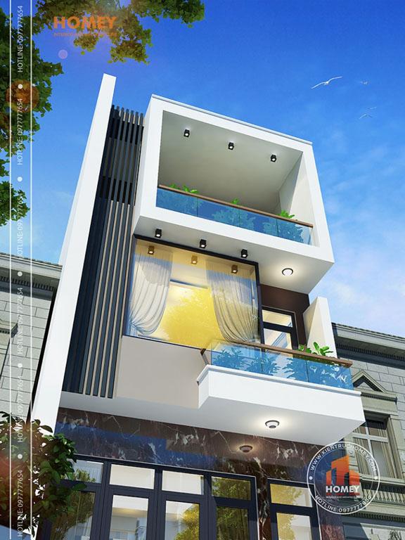 Phối cảnh nhà phố 3 tầng hiện đại đẹp