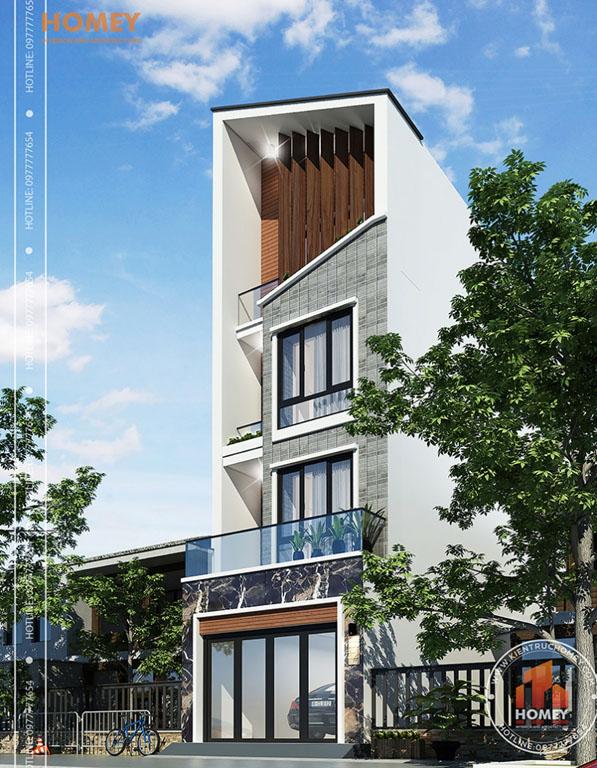 Phối cảnh nhà lô phố hiện đại 4 tầng