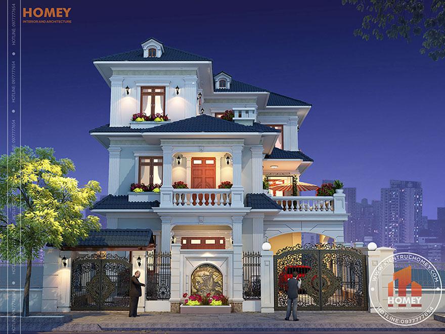 Phối cảnh biệt thự 3 tầng mái Thái tân cổ điển