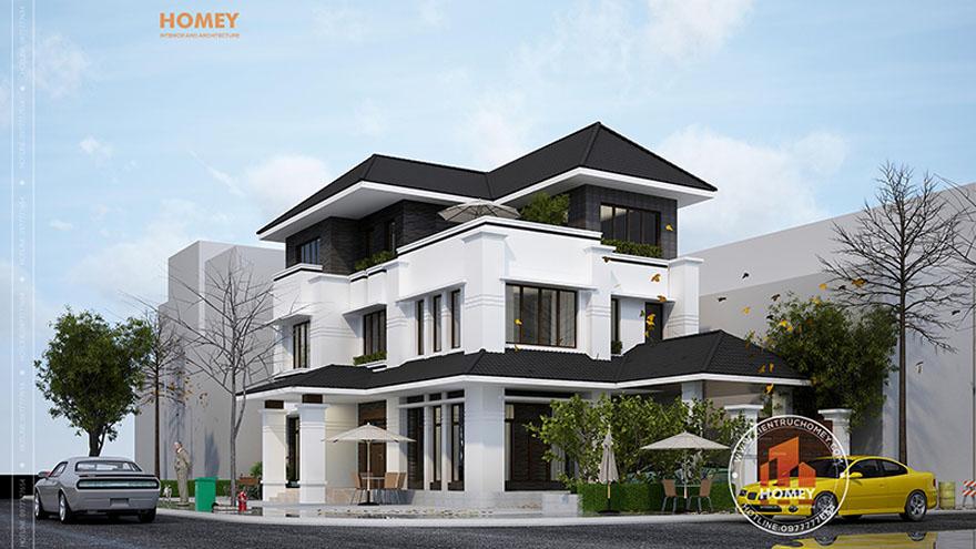 Phối cảnh biệt thự hiện đại 3 tầng mái thái