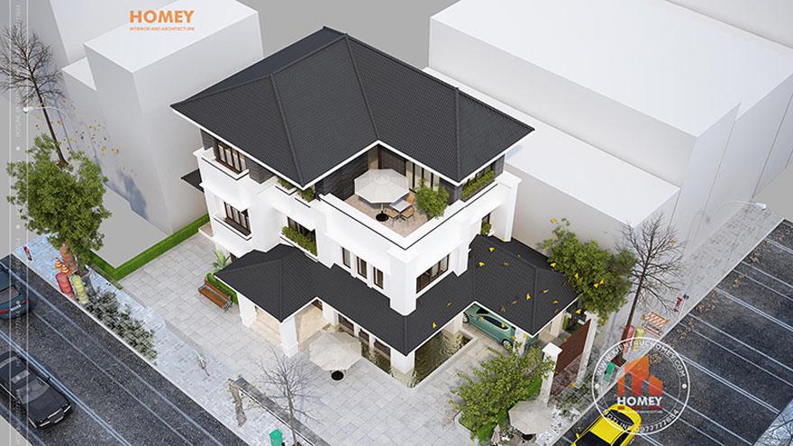 Phối cảnh góc biệt thự hiện đại 3 tầng mái thái