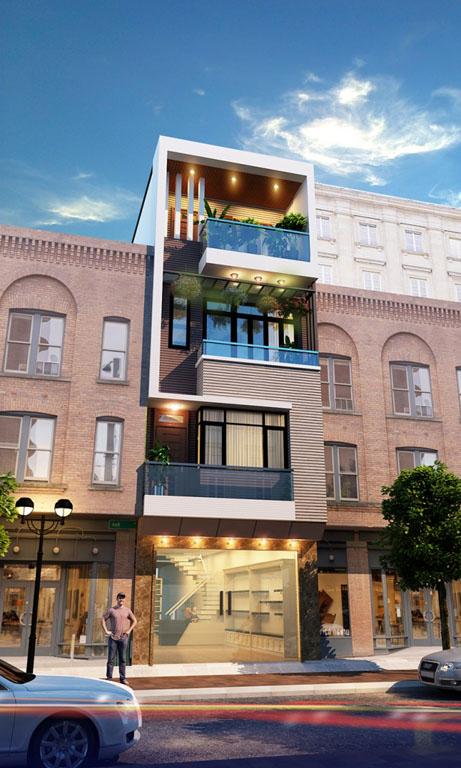 Phối cảnh góc nhà lô phố hiện đại 4 tầng