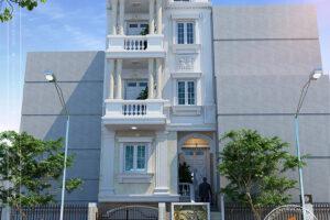 Mặt đứng nhà lô phố hiện đại 5 tầng