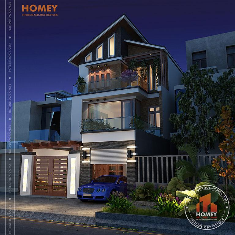 thiết kế biệt thự 3 tầng mái lệch hiện đại