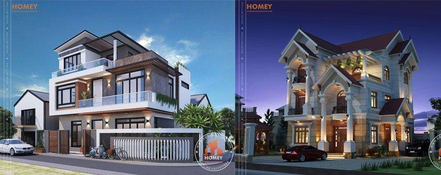 Homey thiết kế biệt thự 2,5-3 tầng