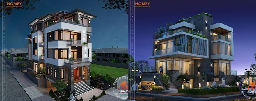 Homey thiết kế biệt thự 4 tầng 5 tầng 6 tầng