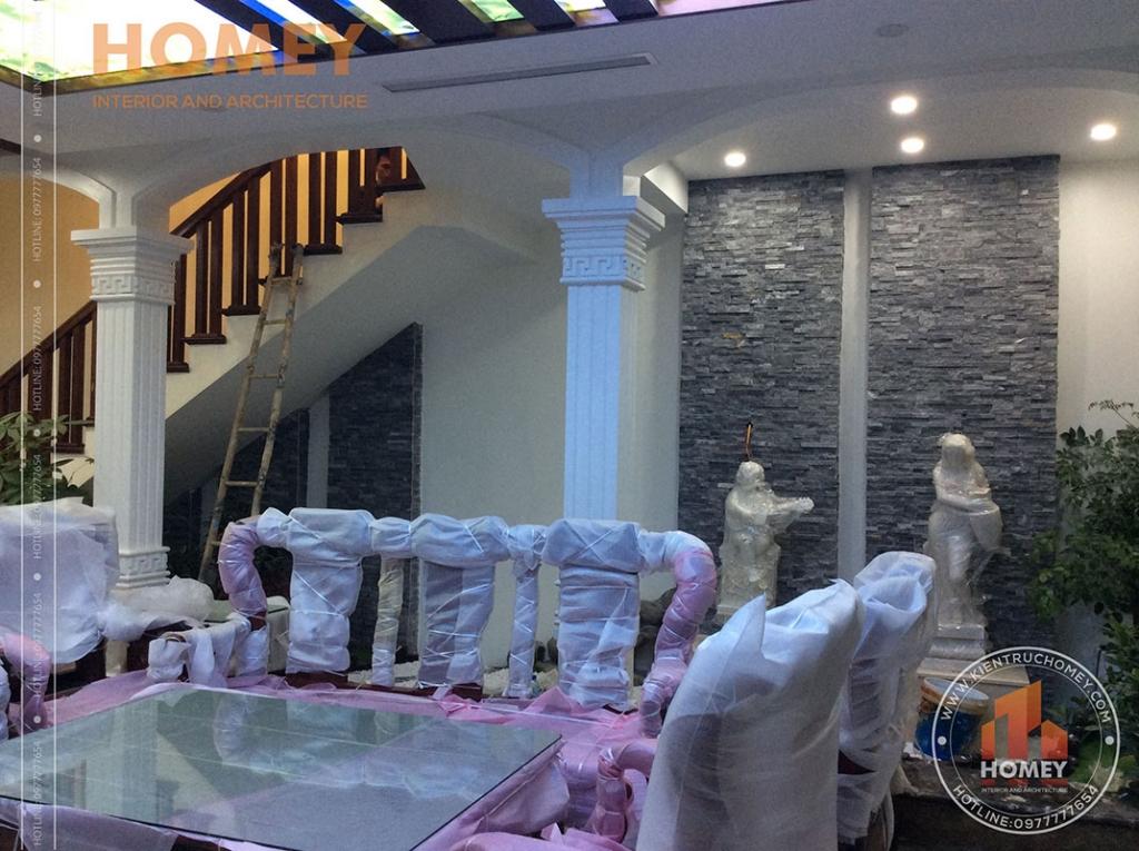 bộ ghế trắc nhà mái lệch hiện đại 3 tầng