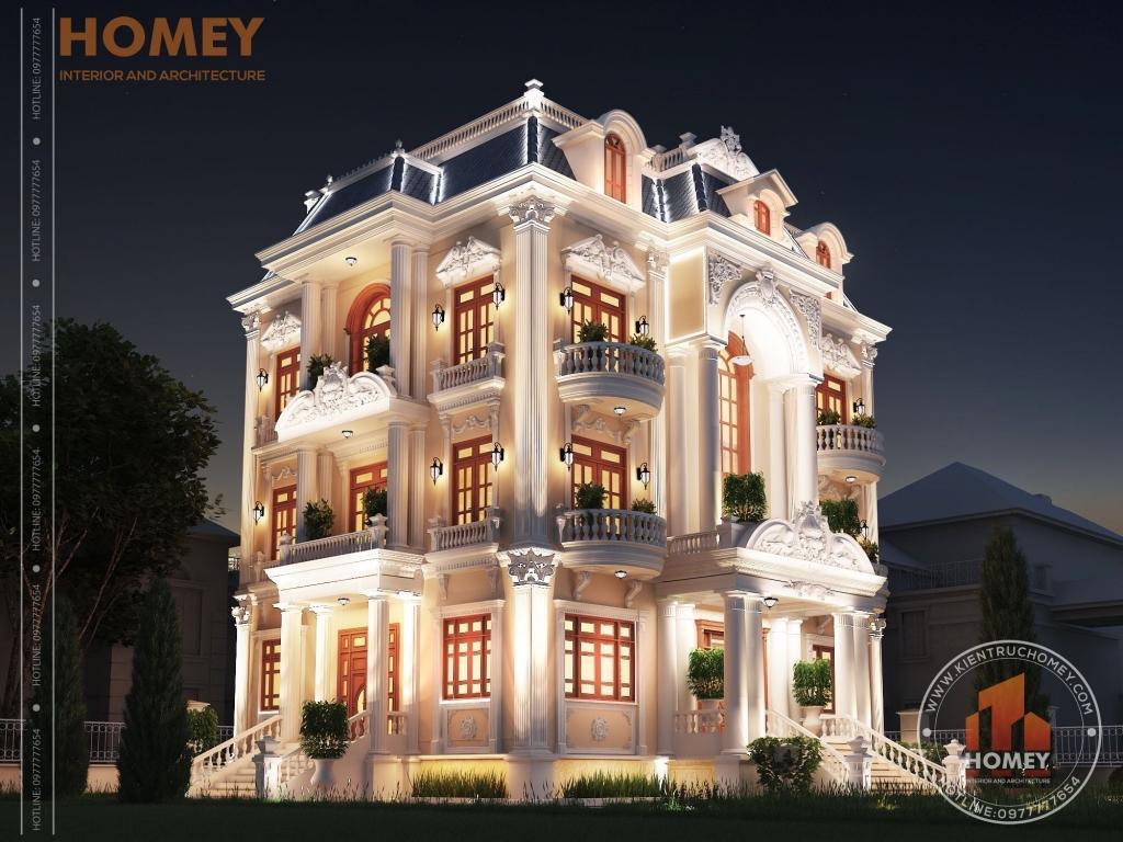dinh thự 3 tầng cổ điển tráng lệ