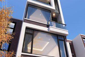 Nhà phố 4 tầng hiện đại có vách kính lớn
