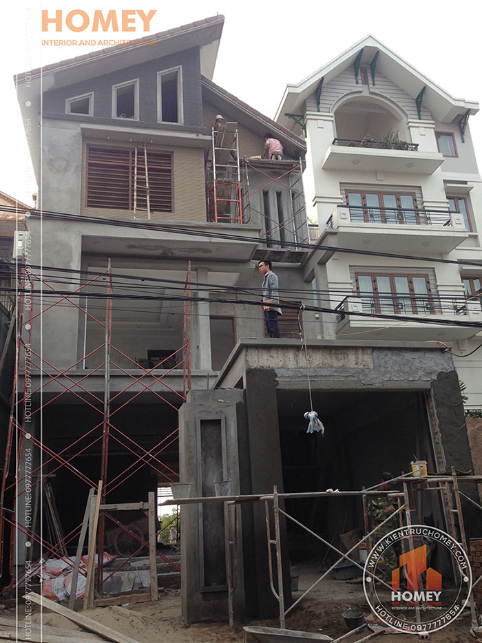 ốp gạch inax nhà mái lệch hiện đại 3 tầng