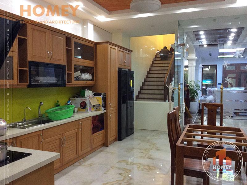 phòng bếp nhà mái lệch hiện đại 3 tầng