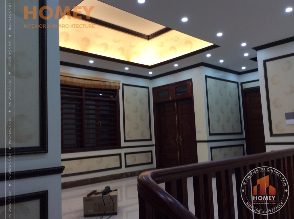 phòng sinh hoạt chung nhà mái lệch hiện đại 3 tầng