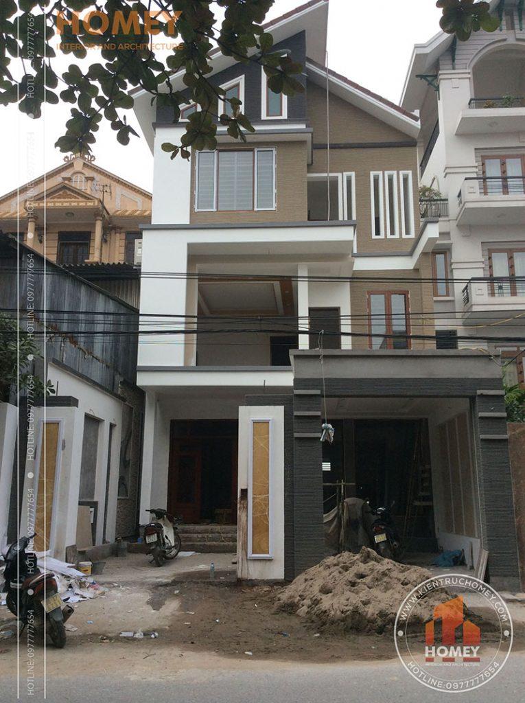Sơn nhà mái lệch hiện đại 3 tầng