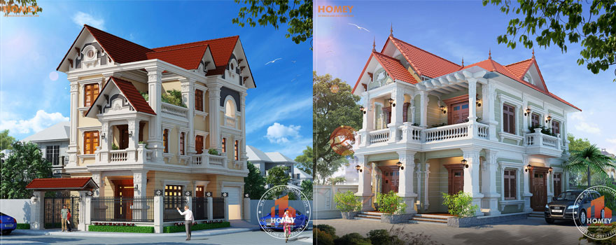 thiet ke biet thu kieu Phap homey Thiết kế biệt thự 2 tầng kiểu Pháp - Dành cho chủ nhân tinh tế và có tầm