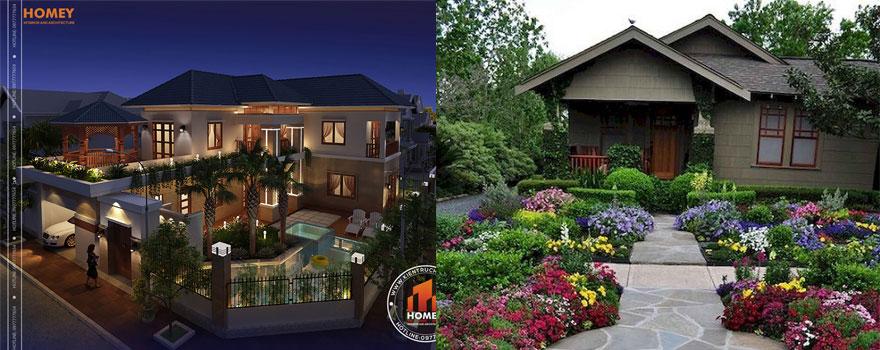 Thiết kế biệt thự sân vườn đẹp cùng kiến trúc Homey