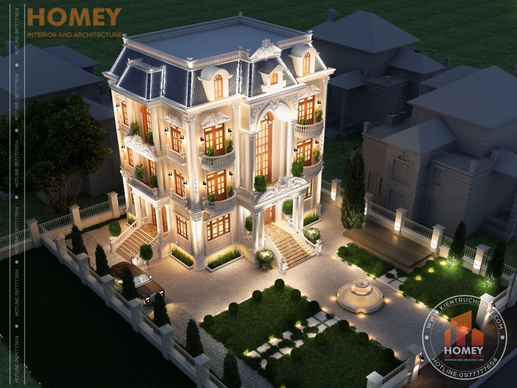 tổng thể dinh thự 3 tầng cổ điển hoành tráng