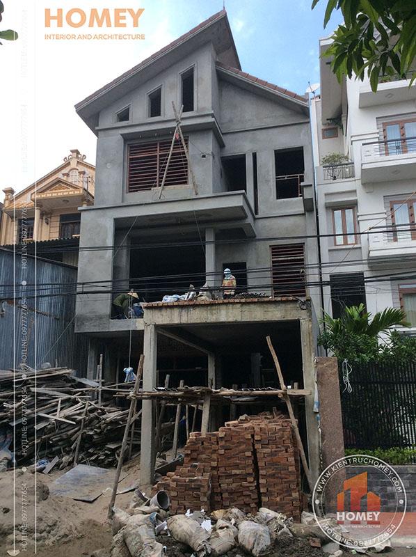 Xây trát nhà mái lệch hiện đại 3 tầng