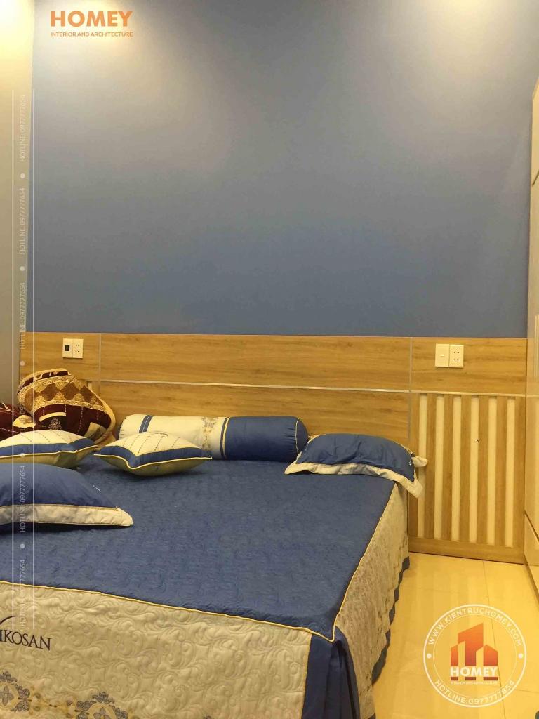 giường ngủ gỗ công nghiệp phòng ngủ con thi công thực tế biệt thự vườn 1 tầng