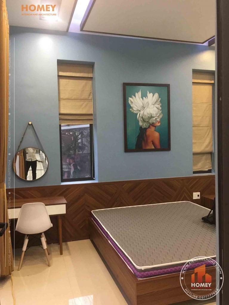 phòng ngủ bố mẹ thi công thực tế biệt thự vườn 1 tầng