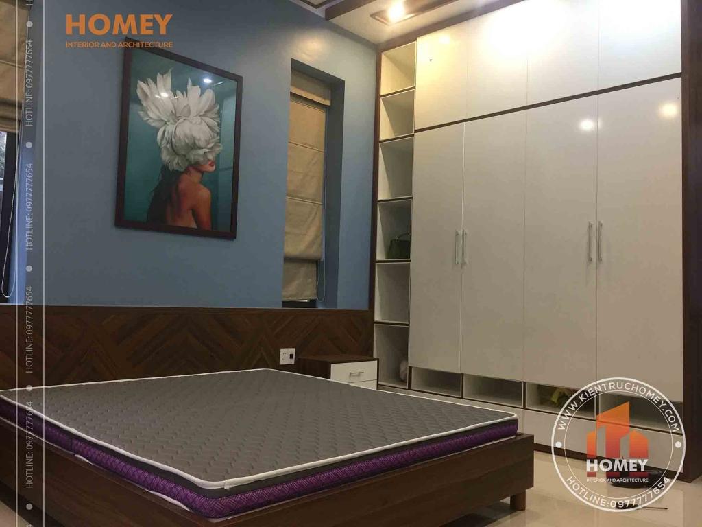 tủ quần áo phòng ngủ bố mẹ thi công thực tế biệt thự 1 tầng