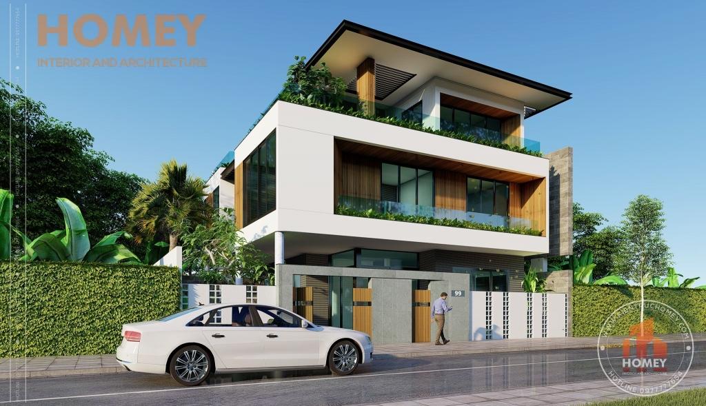 biệt thự 3 tầng phong cách hiện đại đẹp sang trọng