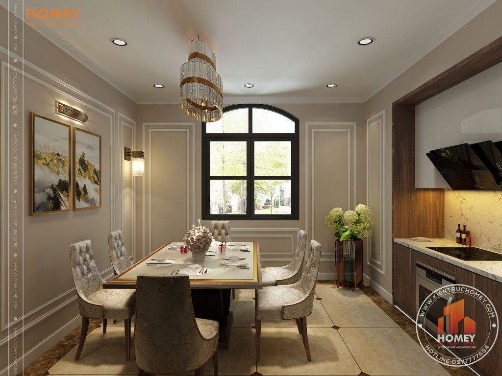 phòng bếp ăn biệt thự vinhomes Hải Phòng tân cổ điển
