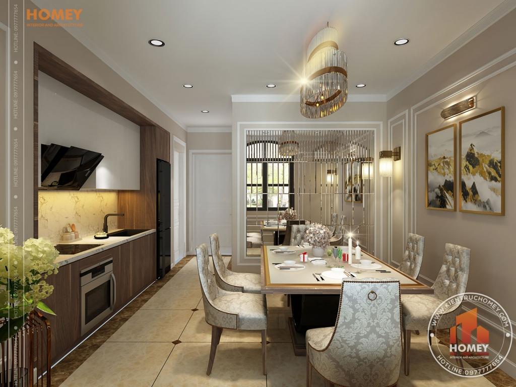 phòng bếp ăn biệt thự vinhomes Hải Phòng