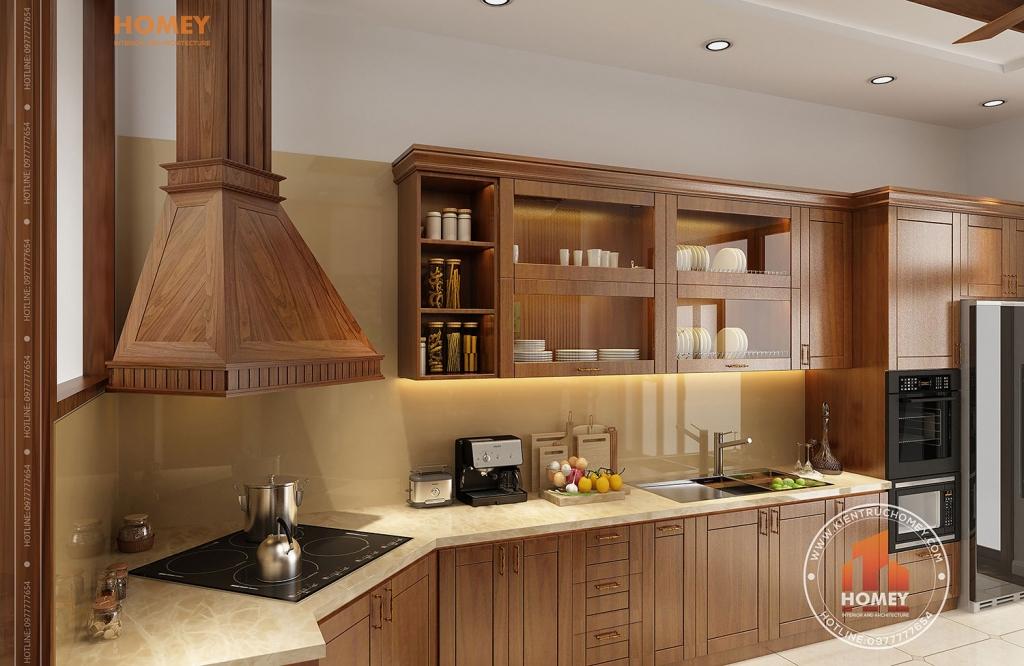 phòng bếp hút mùi độc đáo bằng gỗ